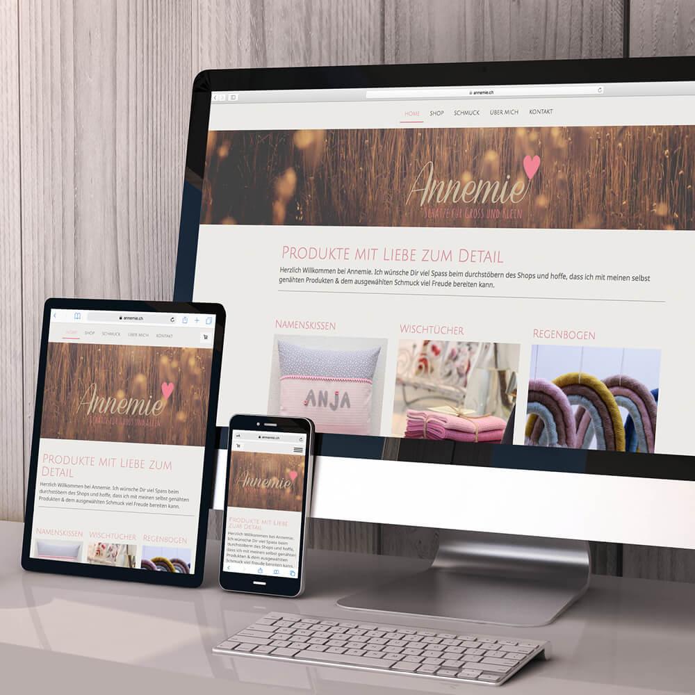 Website mit Webshop annemie.ch als Kundenreferenz von Bacher PrePress
