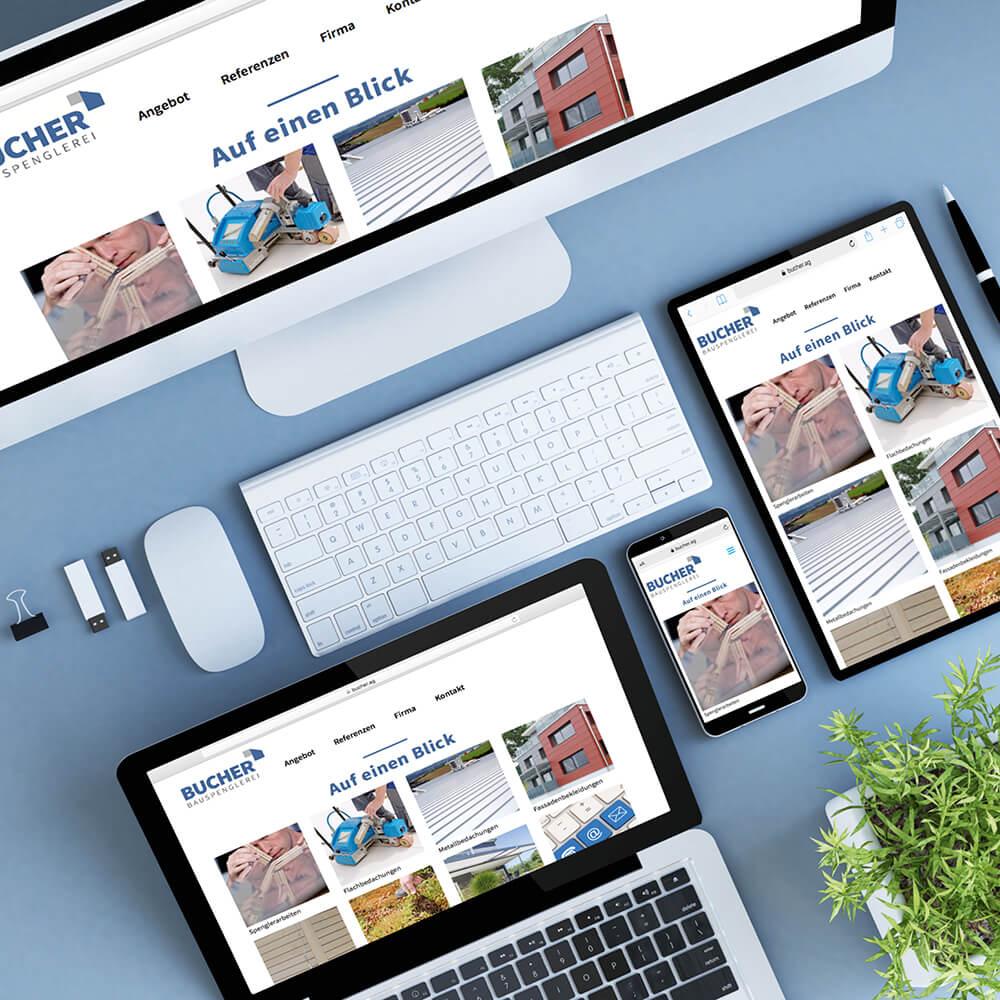 Website Bucher Bauspenglerei als Kundenreferenz von Bacher PrePress