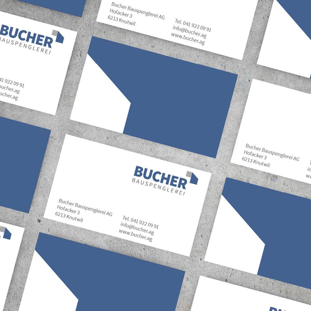 Visitenkarte Bucher Bauspenglerei als Kundenreferenz von Bacher PrePress