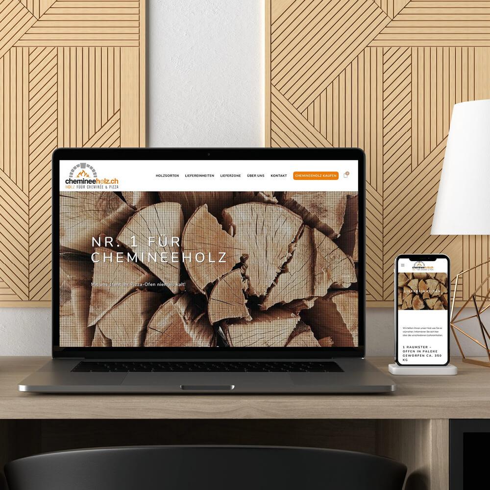 Webseite chemineeholz.ch als Kundenreferenz von Bacher PrePress