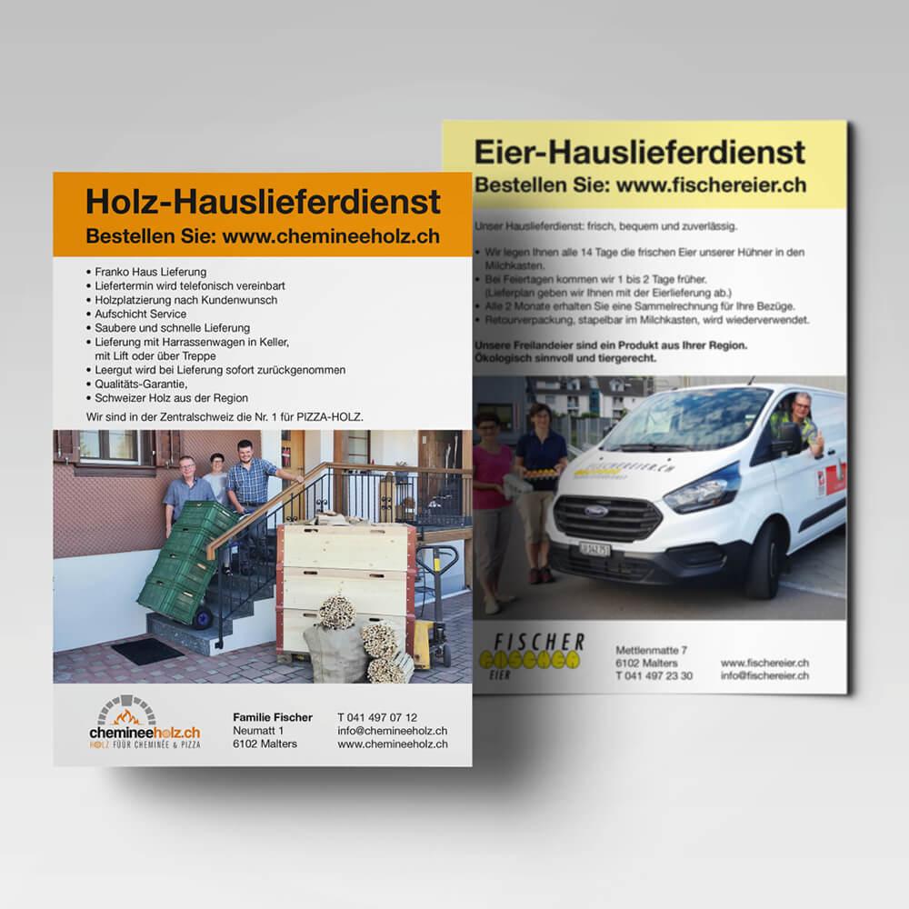 Flyer chemineeholz.ch als Kundenreferenz von Bacher PrePress