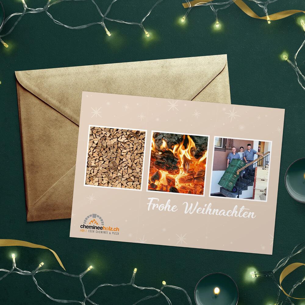 Weihnachtskarte chemineeholz.ch als Kundenreferenz von Bacher PrePress