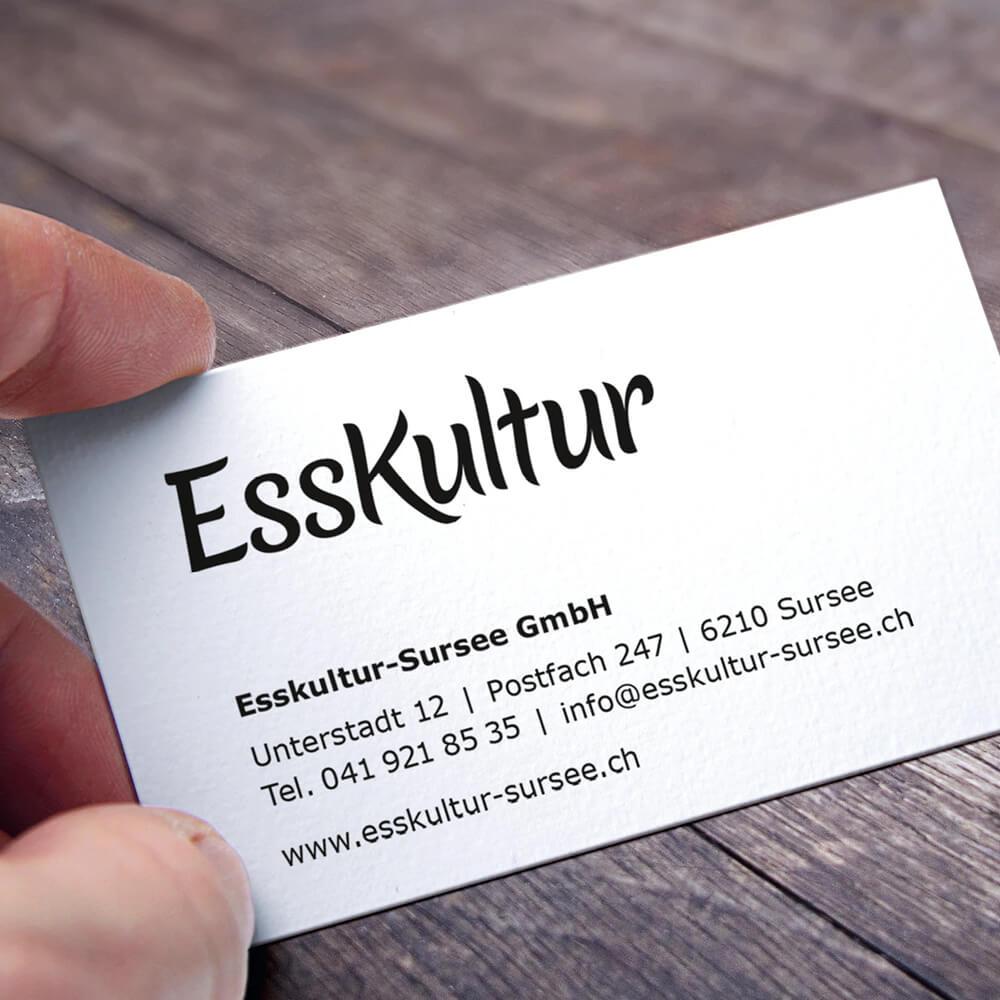 Visitenkarte Esskultur Sursee als Kundenreferenz von Bacher PrePress