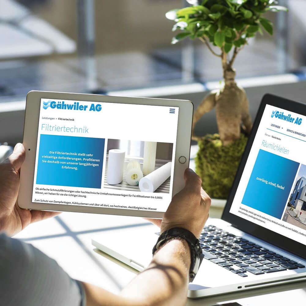 Website Gähwiler AG als Kundenreferenz von Bacher PrePress