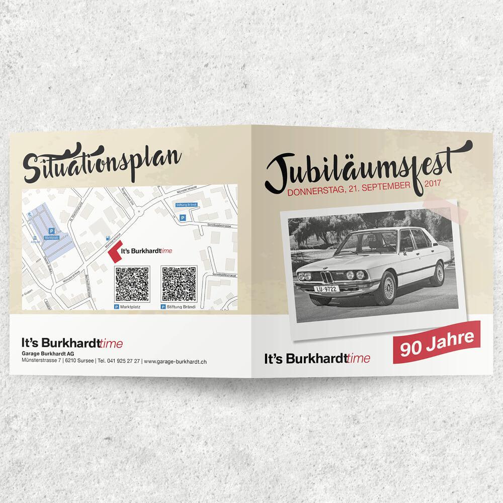 Falzflyer BMW Garage Burkhardt als Kundenreferenz von Bacher PrePress
