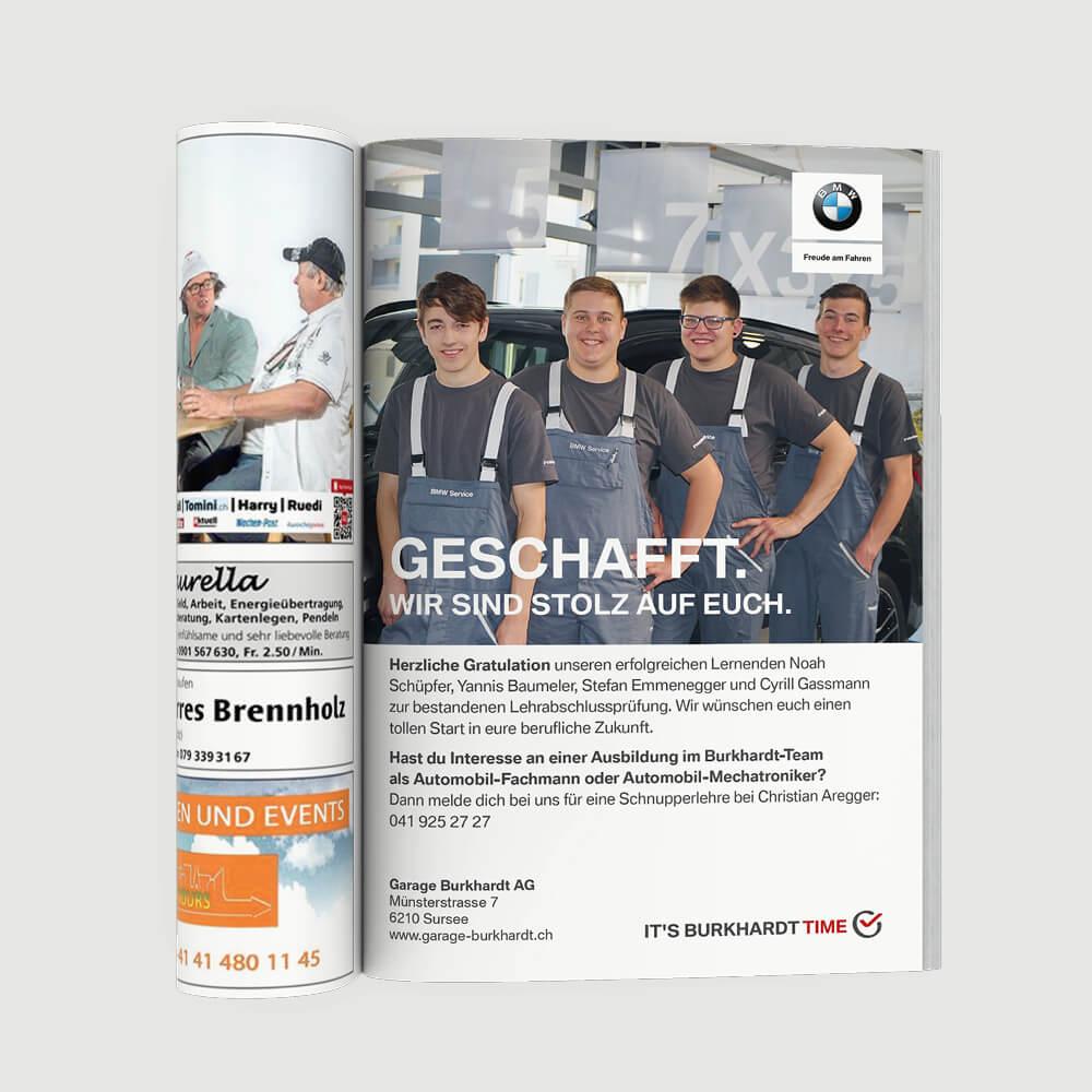 Inserat BMW Garage Burkhardt als Kundenreferenz von Bacher PrePress