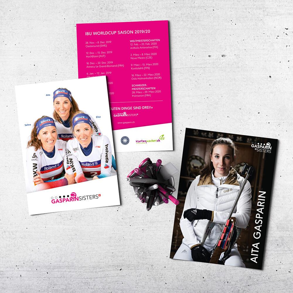 Autogrammkarte - Gasparin Sisters als Kundenreferenz von Bacher PrePress