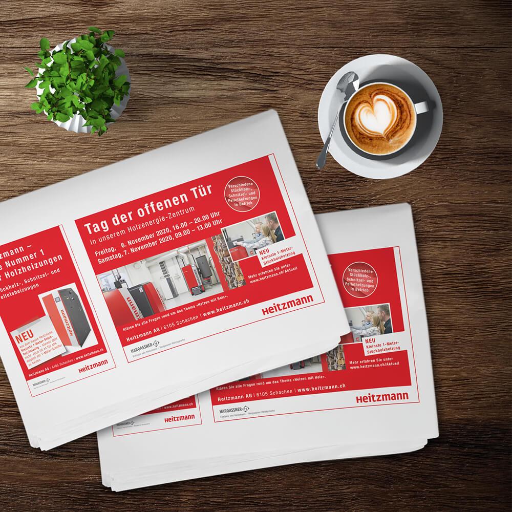 Flyer Tag der offenen Tür Heitzmann als Kundenreferenz von Bacher PrePress