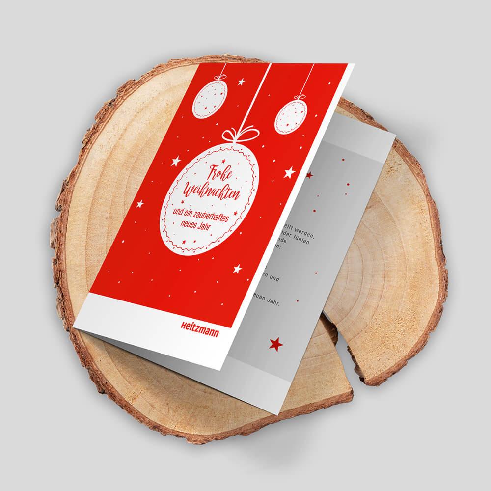 Weihnachtskarte Heitzmann als Kundenreferenz von Bacher PrePress
