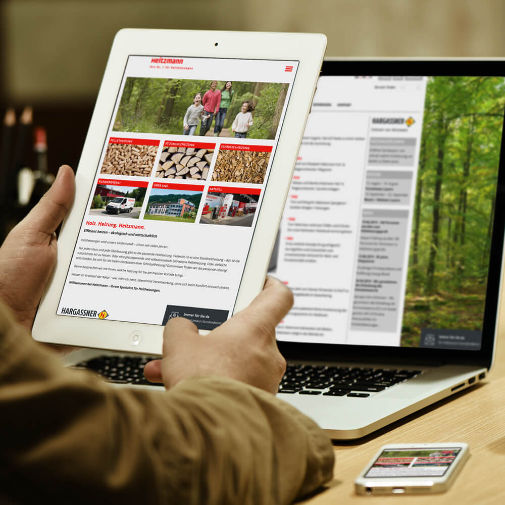 Website Heitzmann als Kundenreferenz von Bacher PrePress