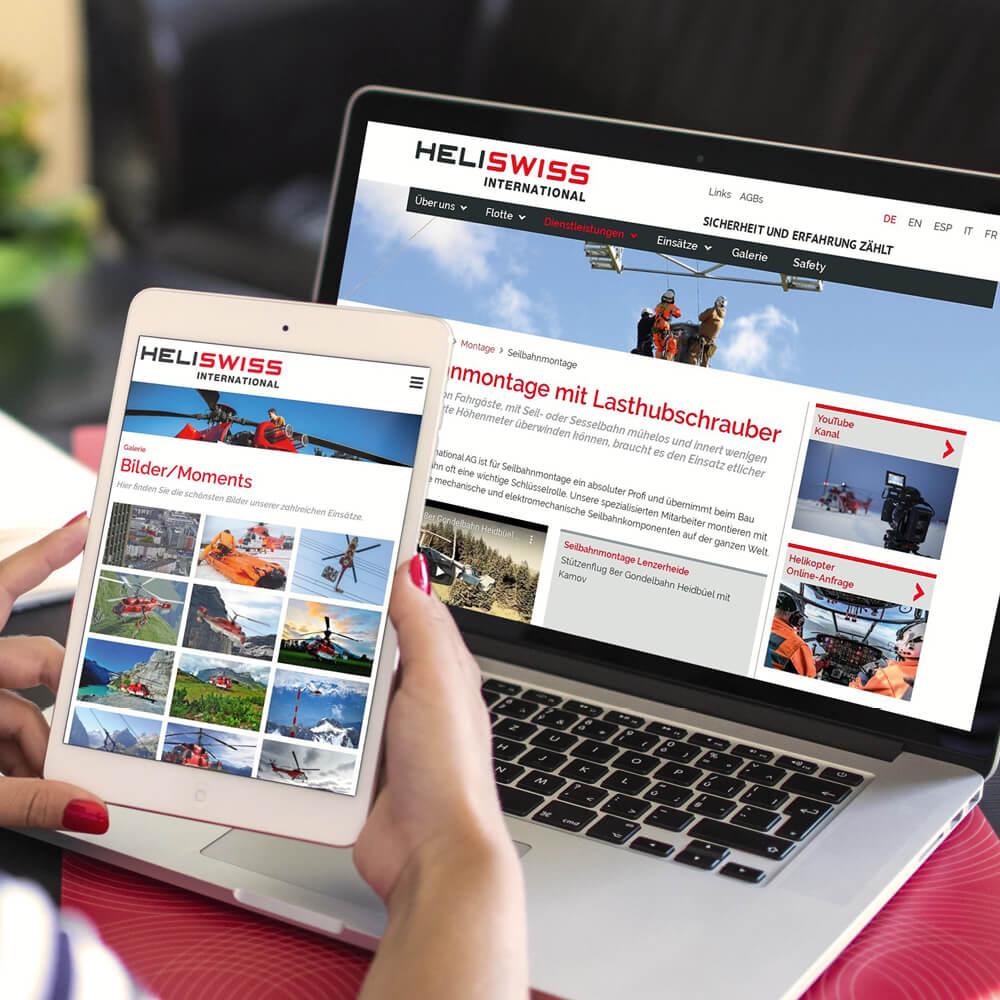 Website Heliswiss International als Kundenreferenz von Bacher PrePress