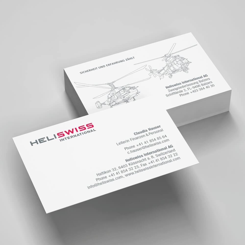 Visitenkarte Heliswiss International als Kundenreferenz von Bacher PrePress