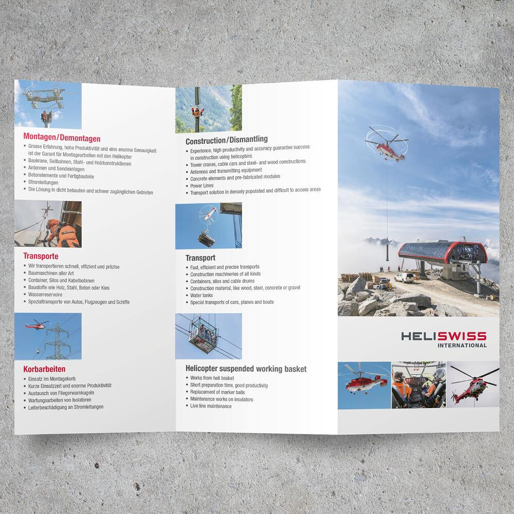 Falzflyer Heliswiss International als Kundenreferenz von Bacher PrePress
