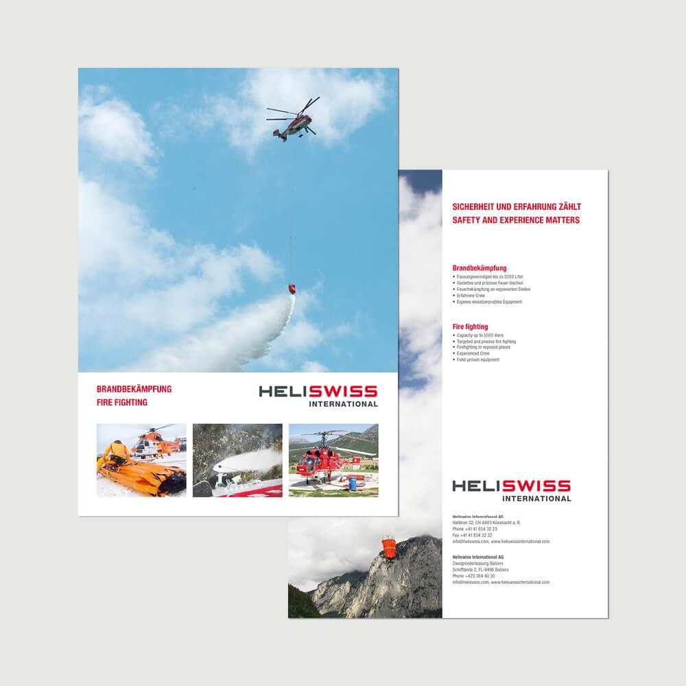 Flyer Heliswiss International als Kundenreferenz von Bacher PrePress