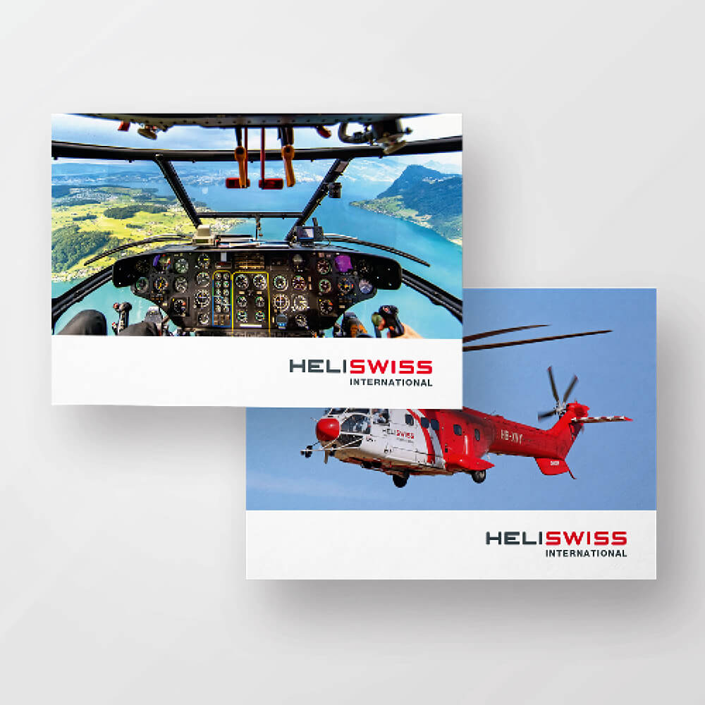 Flyer Heliswiss International als Kundenreferenz von Bacher PrePress