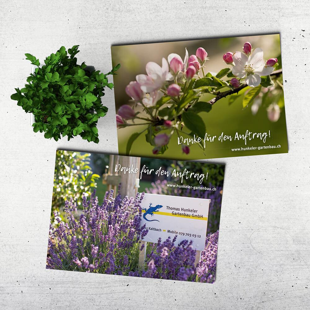 Flyer Hunkeler Gartenbau als Kundenreferenz von Bacher PrePress