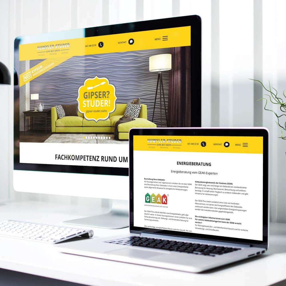 Website Gipser Studer als Kundenreferenz von Bacher PrePress