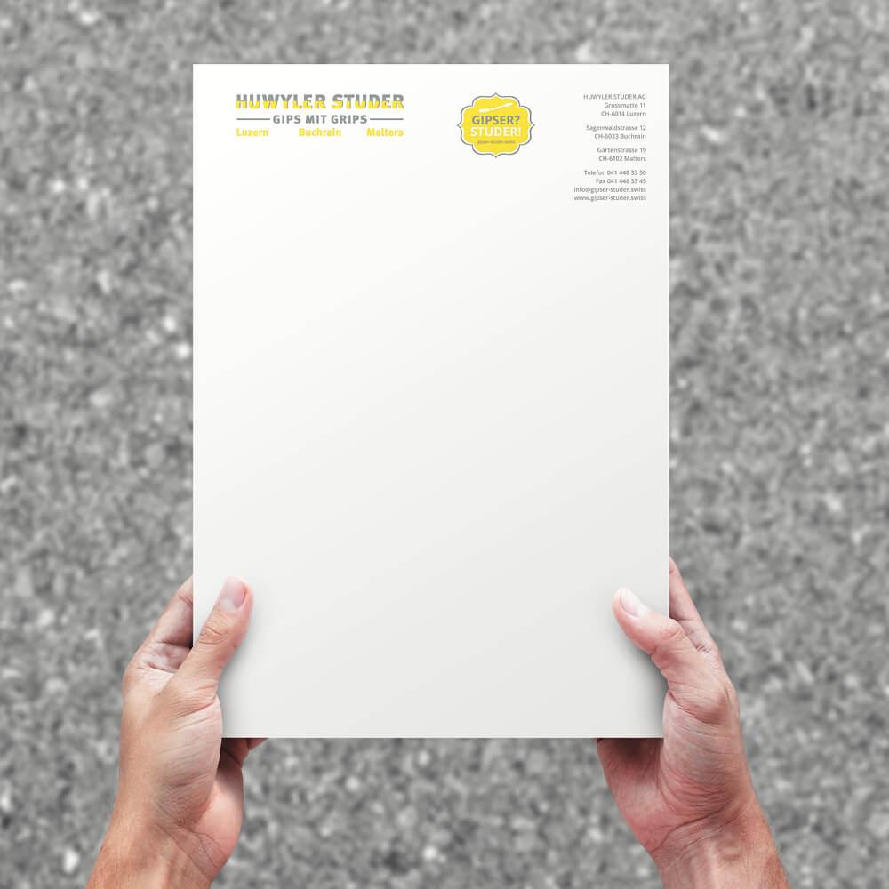 Briefpapier Gipser Studer als Kundenreferenz von Bacher PrePress