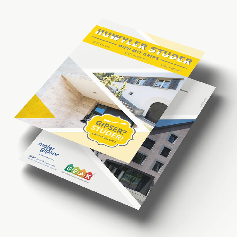 Flyer Gipser Studer als Kundenreferenz von Bacher PrePress