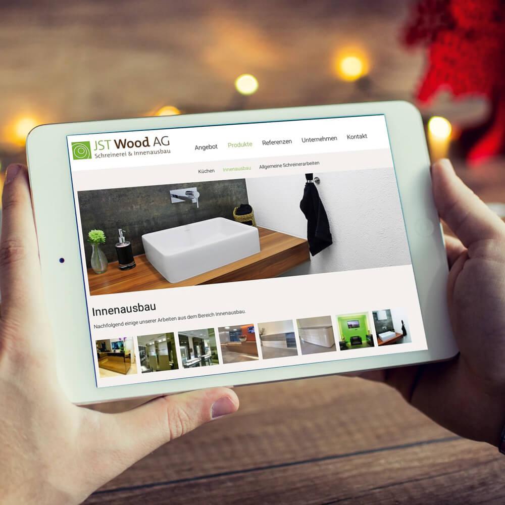 Website JST Wood als Kundenreferenz von Bacher PrePress