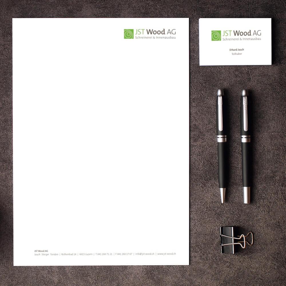 Briefschaften JST Wood als Kundenreferenz von Bacher PrePress