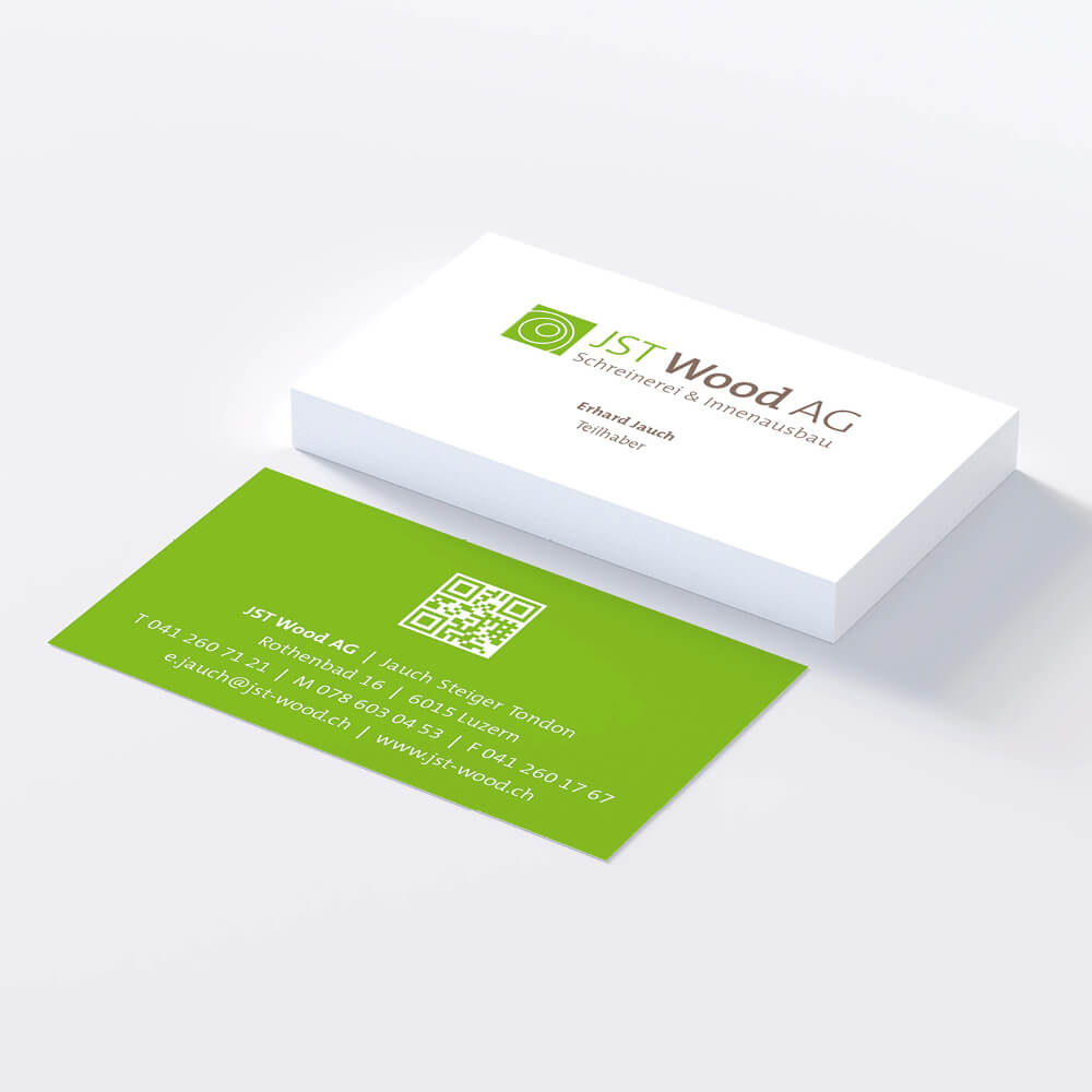 Visitenkarte JST Wood als Kundenreferenz von Bacher PrePress