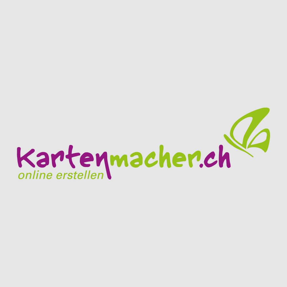 Logo kartenmacher.ch als Kundenreferenz von Bacher PrePress