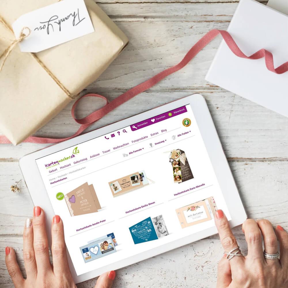 Website kartenmacher.ch als Kundenreferenz von Bacher PrePress
