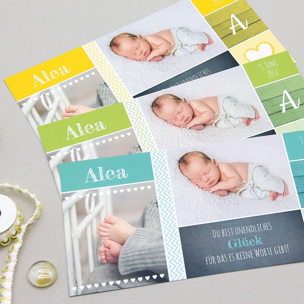 Geburtskarte kartenmacher.ch als Kundenreferenz von Bacher PrePress