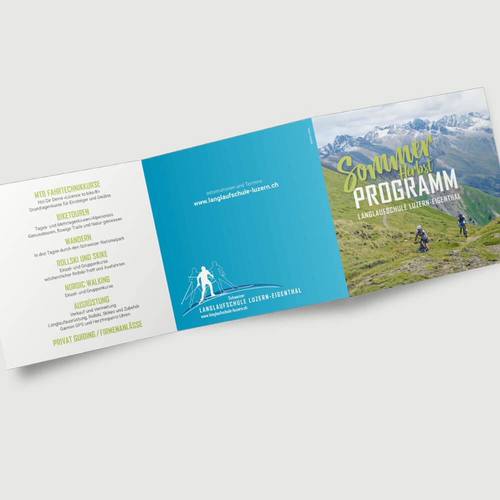 Sommerflyer Langlaufschule Luzern als Kundenreferenz von Bacher PrePress