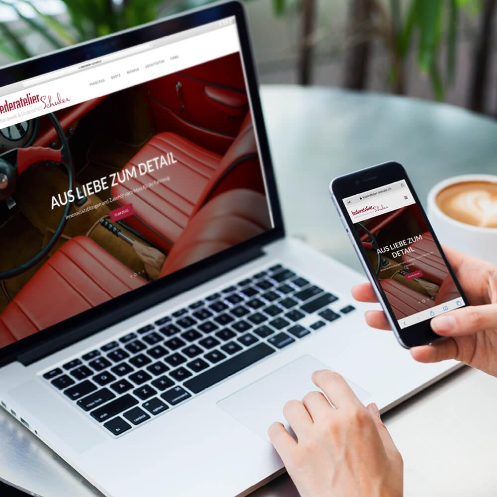 Website Lederatelier Schuler als Kundenreferenz von Bacher PrePress