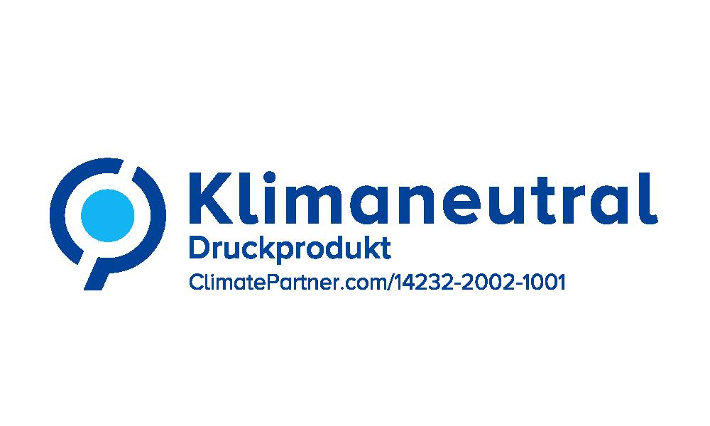 Klimaneutrales Druckprodukt Logo farbig von Bacher PrePress