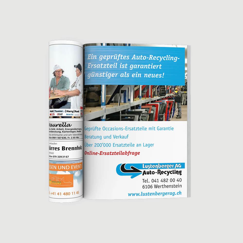 Inserat Lustenberger Autoverwertung als Kundenreferenz von Bacher PrePress