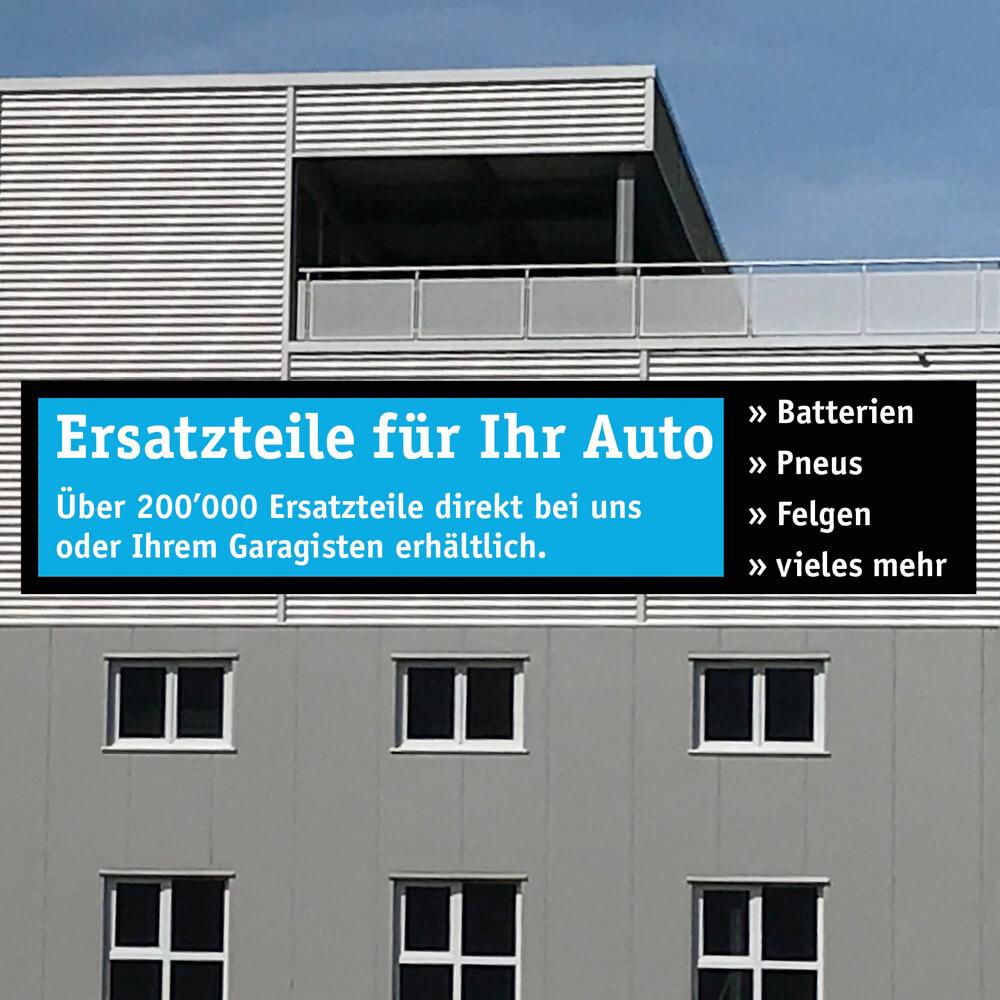 Gebäudetafel Lustenberger Autoverwertung als Kundenreferenz von Bacher PrePress