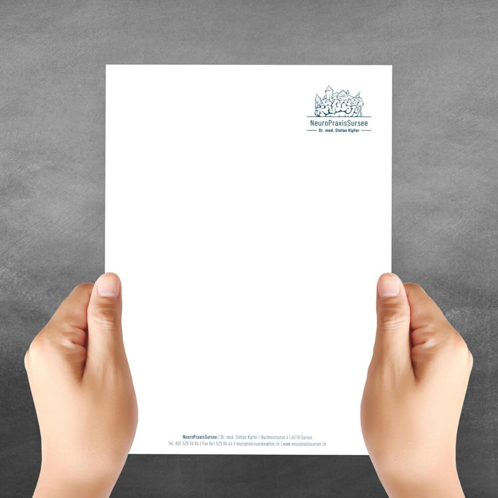 Briefpapier Neuropraxis Sursee als Kundenreferenz von Bacher PrePress