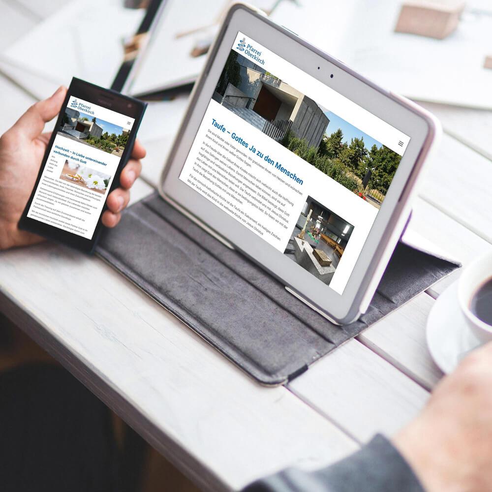 Website Pfarrei Oberkirch als Kundenreferenz von Bacher PrePress
