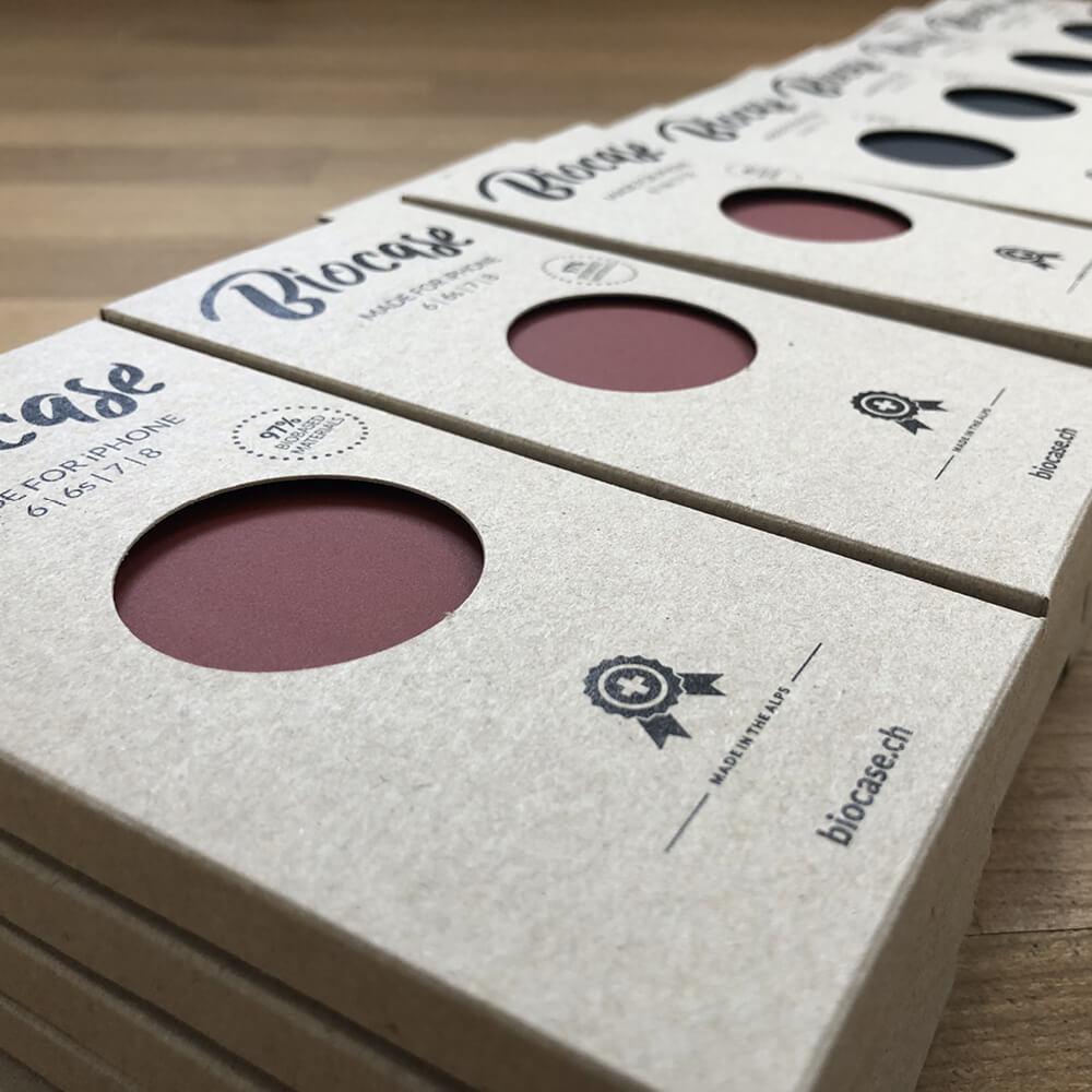 Verpackung Biocase als Kundenreferenz von Bacher PrePress
