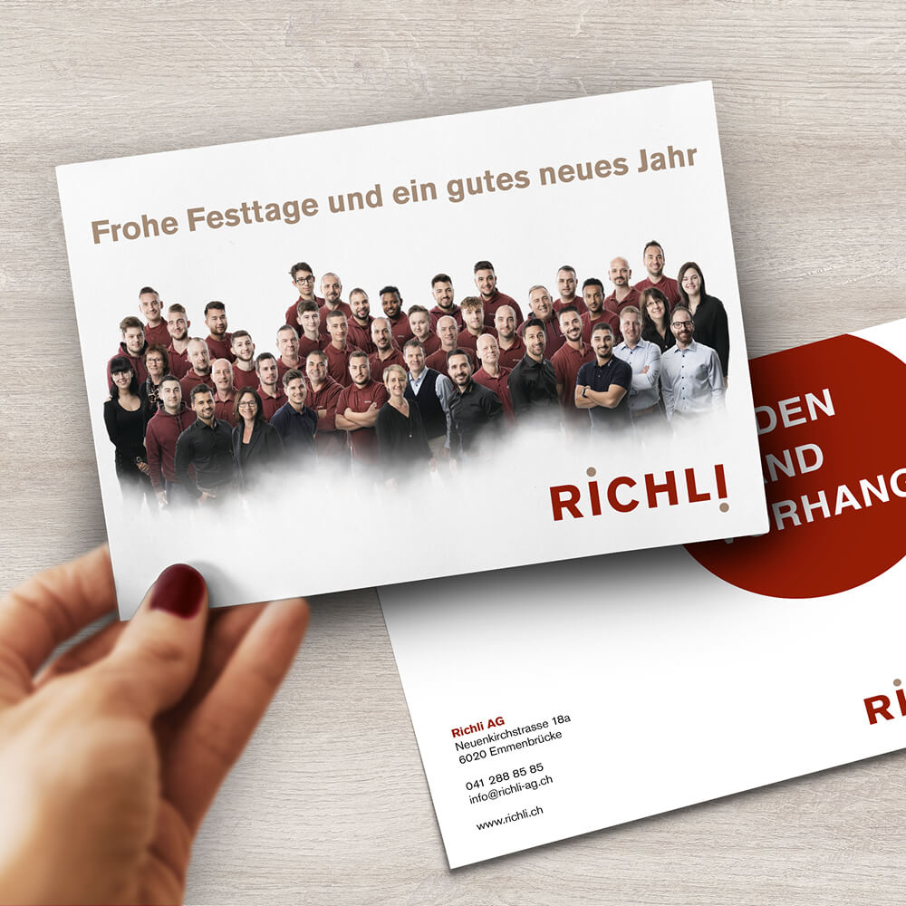 Weihnachtsflyer Richli Parkett als Kundenreferenz von Bacher PrePress