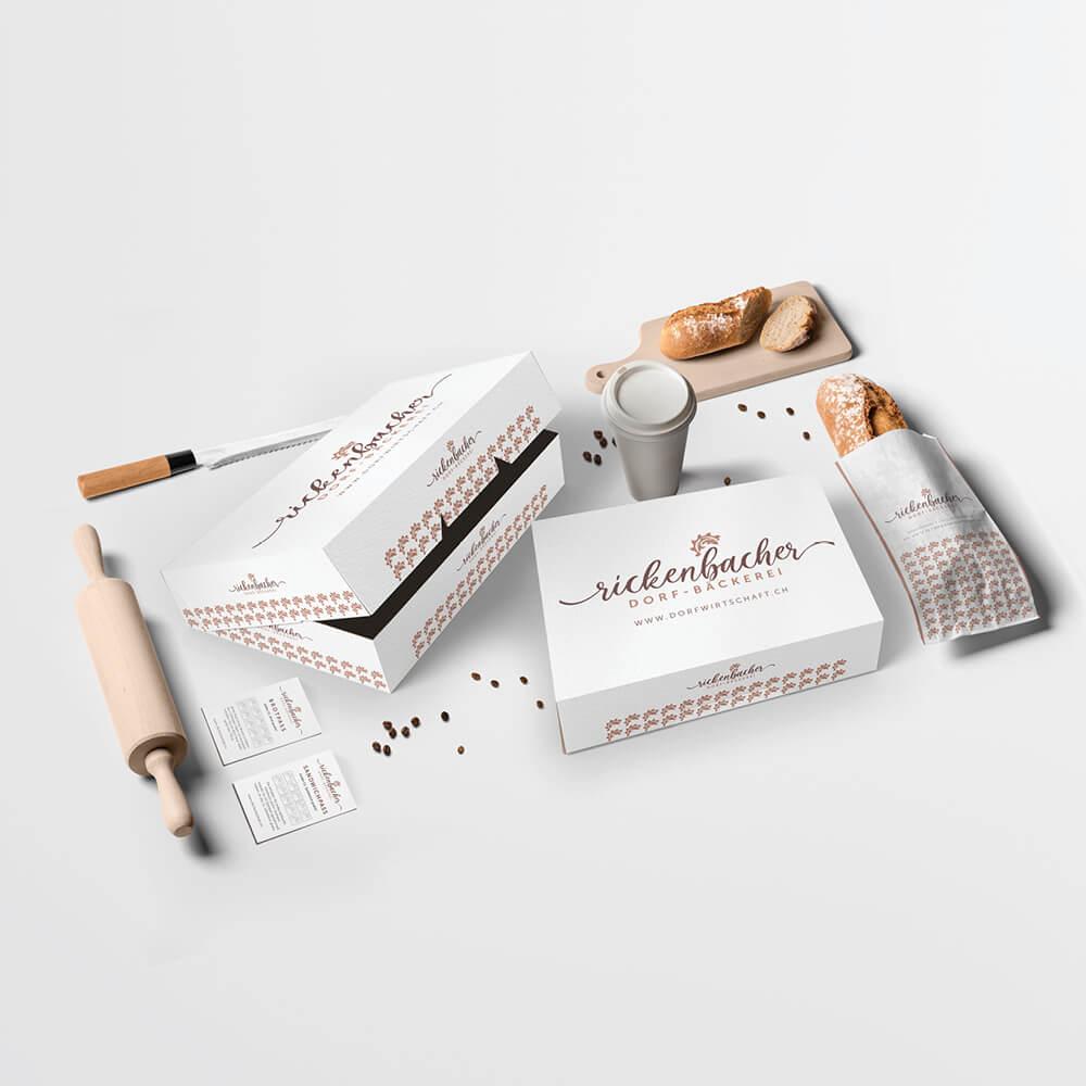 Verpackungen für Brot und Torten - Rickenbacher Dorfwirtschaft - Kundenreferenz Bacher PrePress