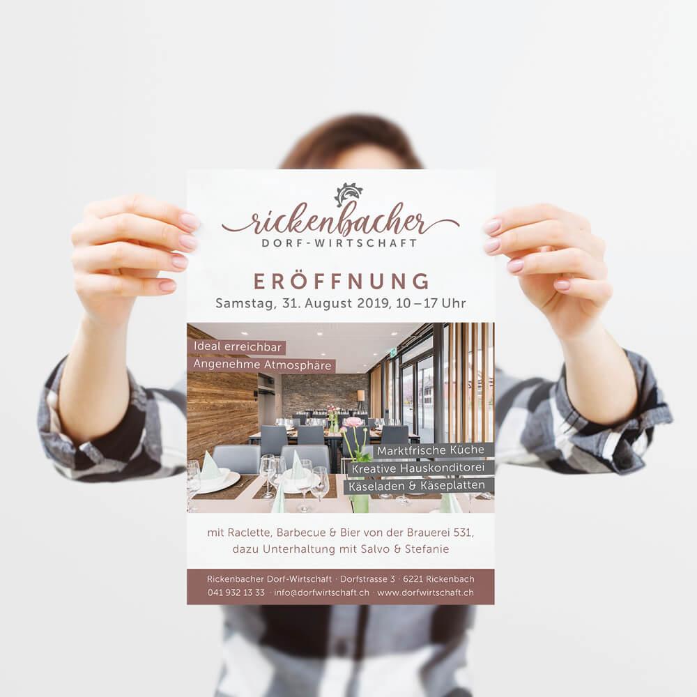 Flyer Eröffnung - Rickenbacher Dorfwirtschaft - Kundenreferenz Bacher PrePress