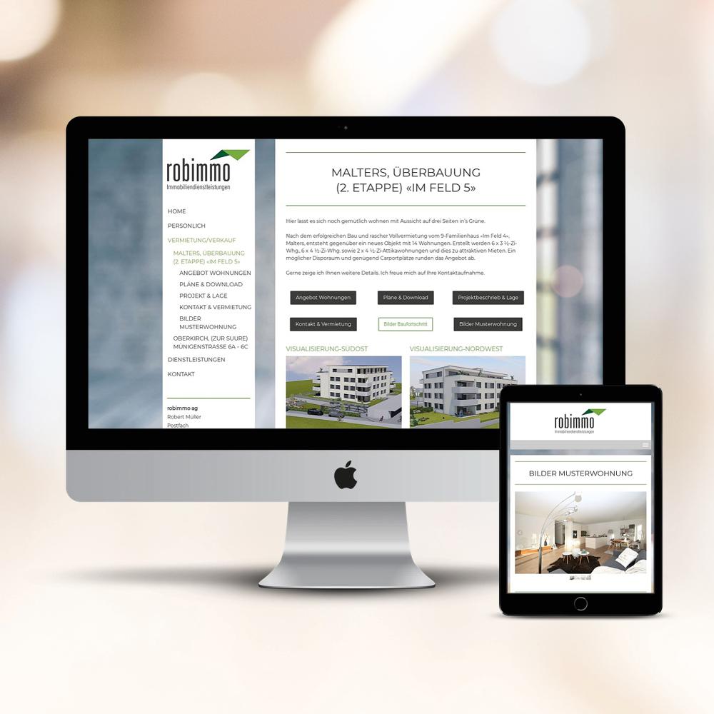 Webseite Robimmo AG als Kundenreferenz von Bacher PrePress