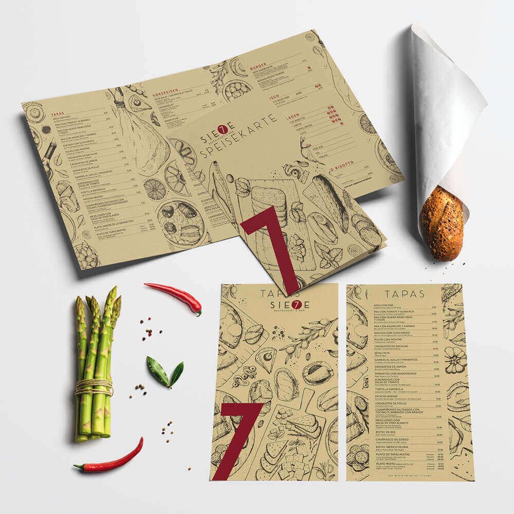 Speisekarte Tapaskarte - Sie7e Malters - Kundenreferenz Bacher PrePress