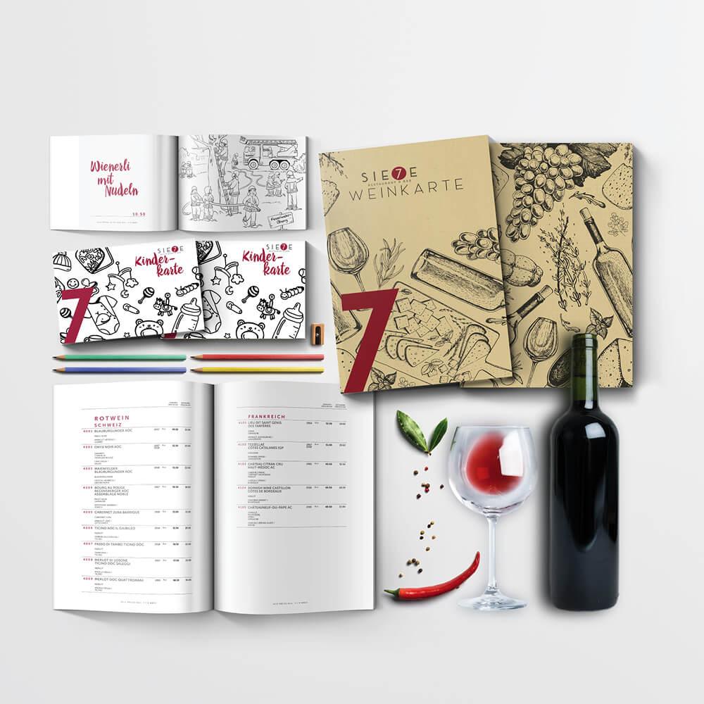 Weinkarte Kinderkarte - Sie7e Malters - Kundenreferenz Bacher PrePress