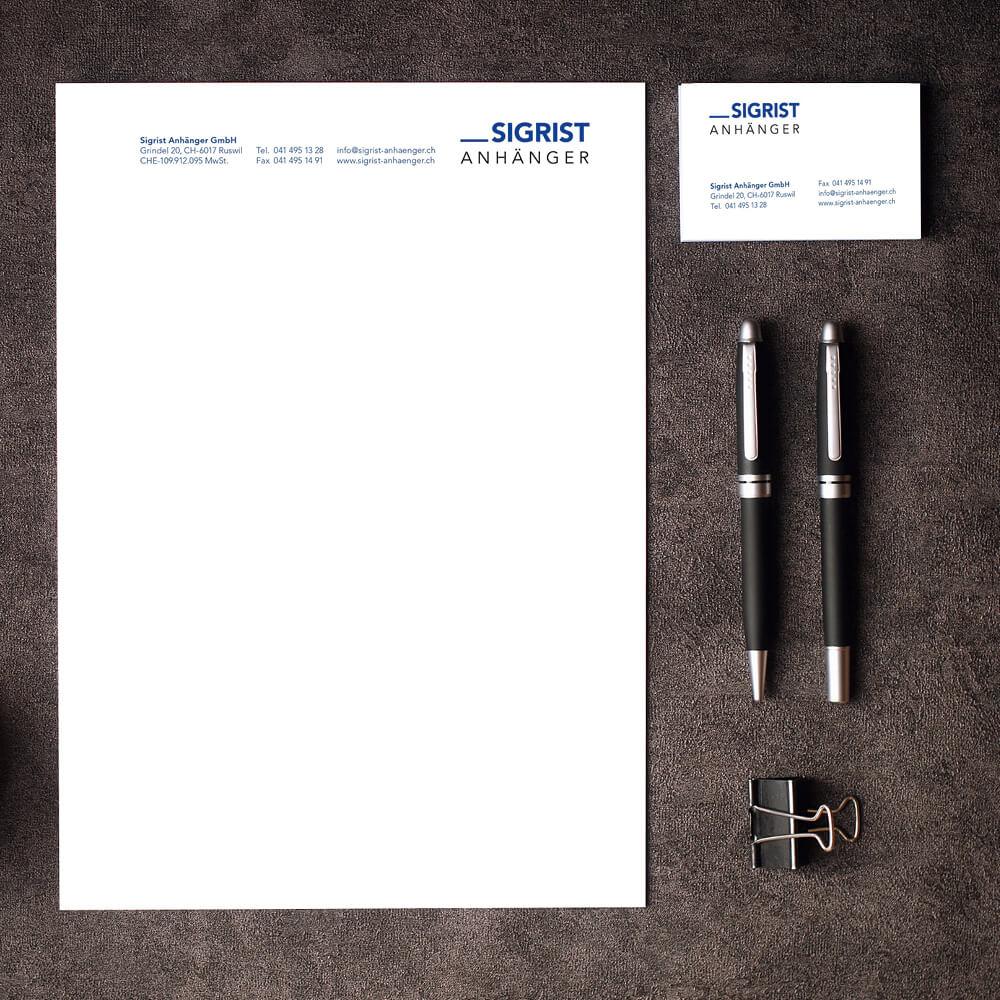 Briefschaften Sigrist Anhänger als Kundenreferenz von Bacher PrePress