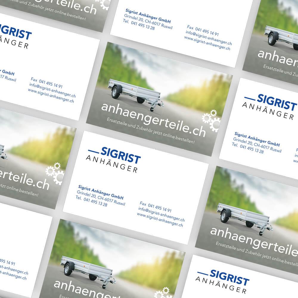 Visitenkarten Sigrist Anhänger als Kundenreferenz von Bacher PrePress