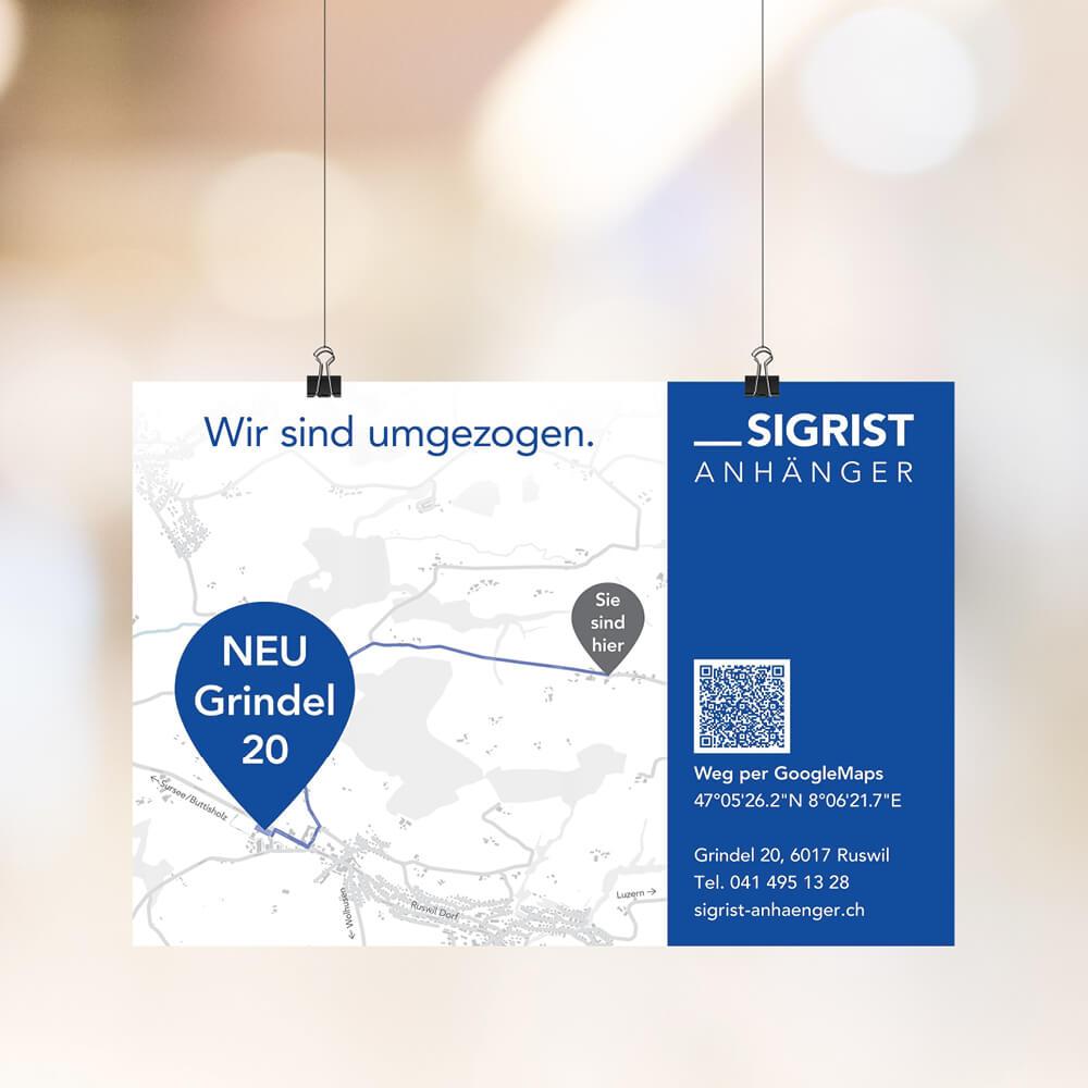 Flyer Sigrist Anhänger als Kundenreferenz von Bacher PrePress