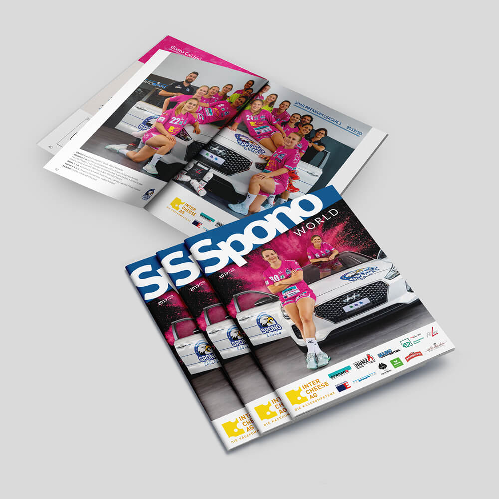 Spono World Saisonheft - Spono Eagles - Kundenreferenz Bacher PrePress