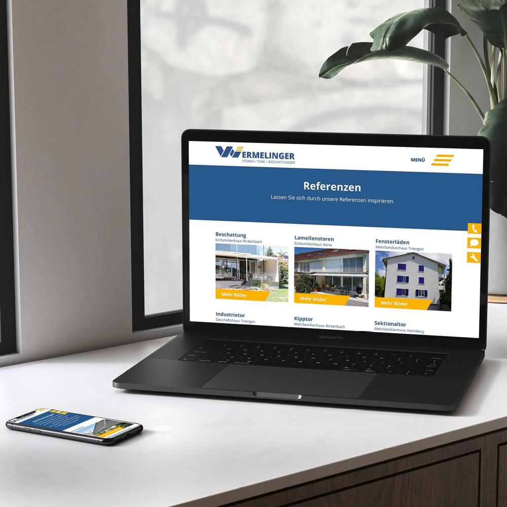 Webseite Wermelinger AG als Kundenreferenz von Bacher PrePress