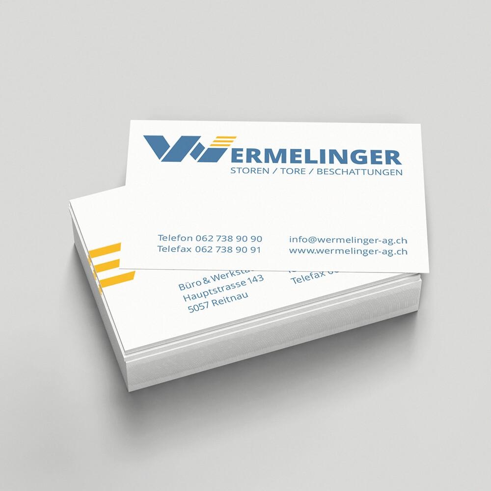 Visitenkarte Wermelinger AG als Kundenreferenz von Bacher PrePress