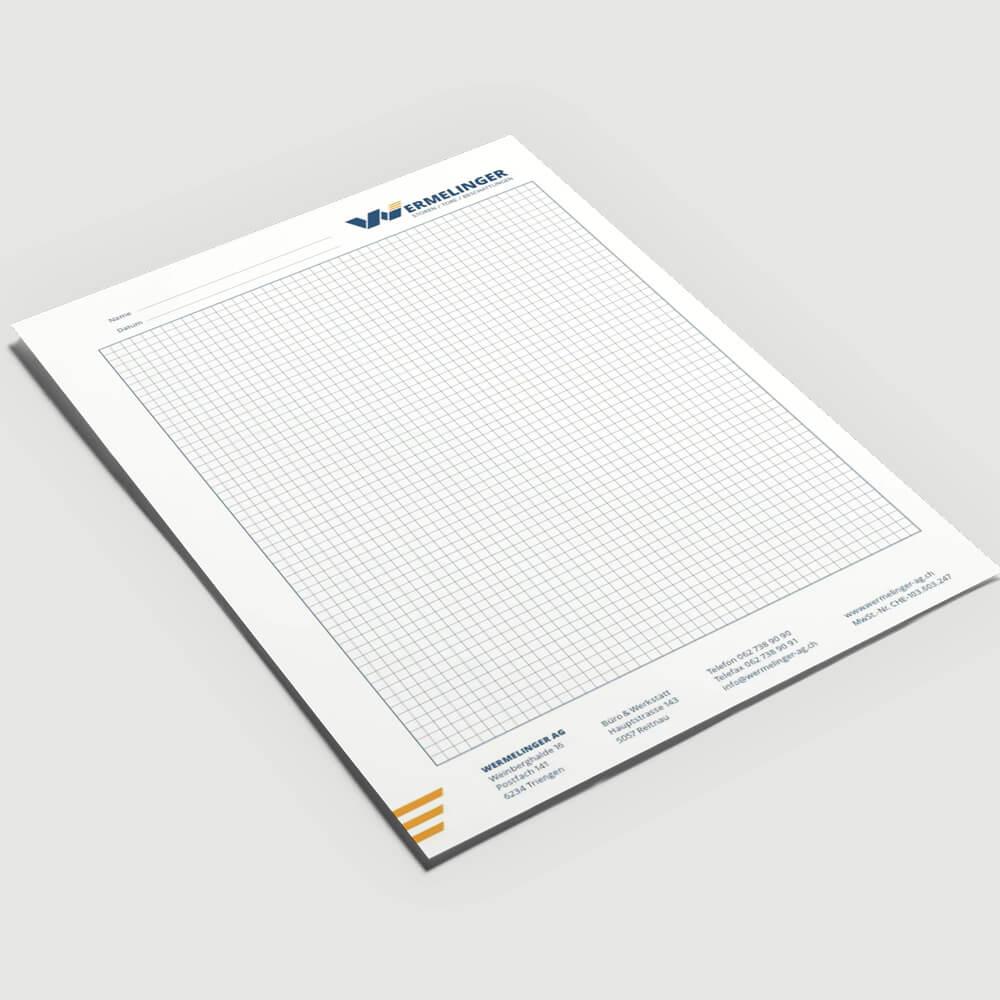 Briefpapier Wermelinger AG als Kundenreferenz von Bacher PrePress